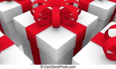 Christmas decoration near gift boxes on white