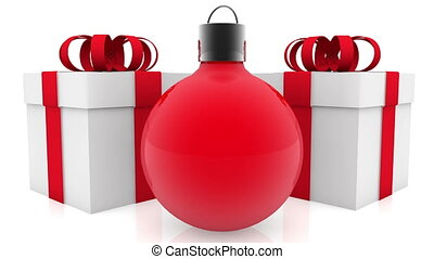 Christmas decoration near gift boxes