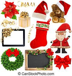 Christmas decoration objects isolated on white background