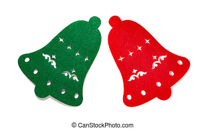 christmas decoration of a green and red flat bells on white