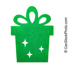 christmas decoration of a green flat gift box on white