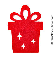 christmas decoration of a red flat gift box on white