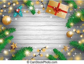 Christmas decoration of gift box pine leaves ball and light bulb with copy space vector illustration