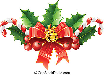 christmas decoration of red bow with gold bell and holly leaves vector illustration isolated on white background