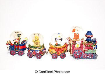Christmas Decoration Of Train Transporting Santa