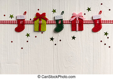 Christmas decoration on a background of white painted rustic...
