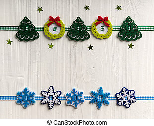 Christmas decoration on a background of white painted rustic boa