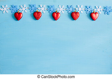 Christmas decoration on a blue wooden background