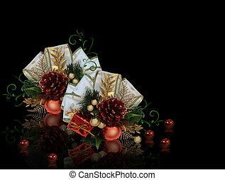 Christmas decoration on black background - Image and...