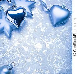 christmas decoration on blue vintage background