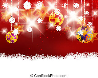 Christmas decoration on blur red