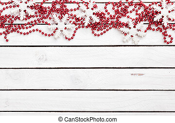 Christmas decoration on bright wooden background