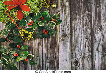 Christmas decoration on dark wooden background. Top view.