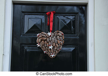 Christmas decoration on front door