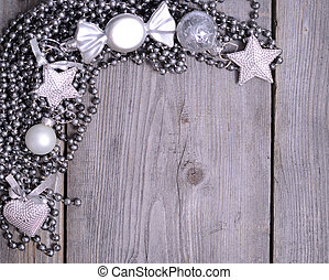 christmas decoration on gray wooden background