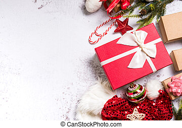 Christmas decoration on isolated white background. Winter season and Happy New Year concept.