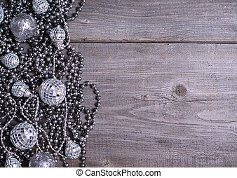 christmas decoration on old wooden table background