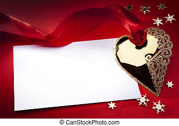 Christmas decoration on red background