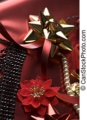 decoration - christmas decoration on red paper close up
