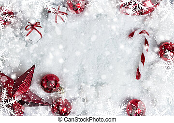 Christmas decoration on snow background with copy space
