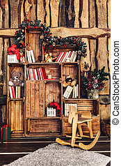 christmas decoration on the background of a wooden wall.