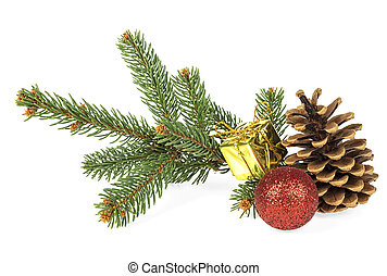 Christmas decoration on white background - fir tree branch, pine cone, red christmas ball and golden gift box.