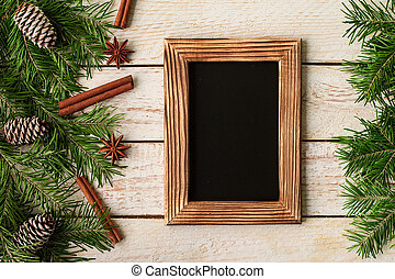 Christmas decoration on white wooden background. Copyspace