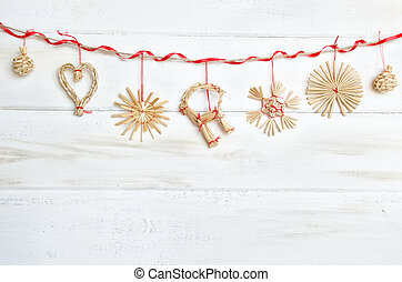 Christmas decoration on white wooden background. Vintage.
