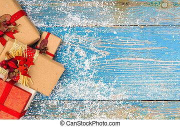 Christmas decoration on wood background
