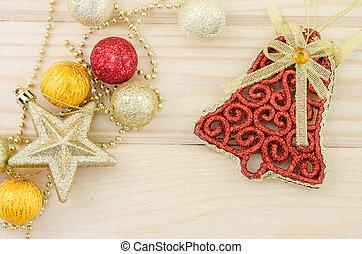 Christmas decoration on wood.