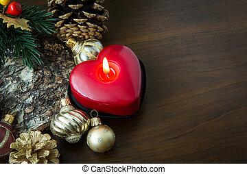 Christmas decoration on wood table