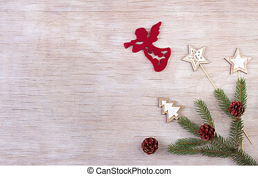 Christmas decoration on wooden background - Christmas...