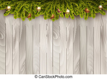 Christmas decoration on wooden background. Vector...