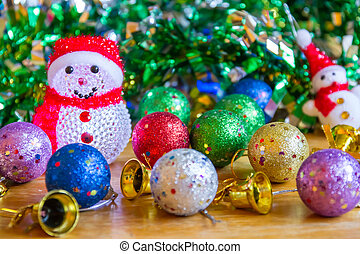 Christmas decoration on wooden table.
