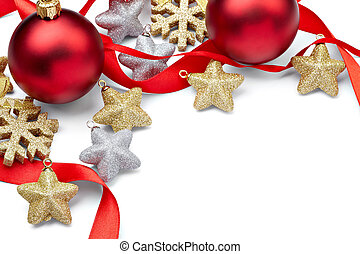 close up of christmas decoration on white background with clipping path
