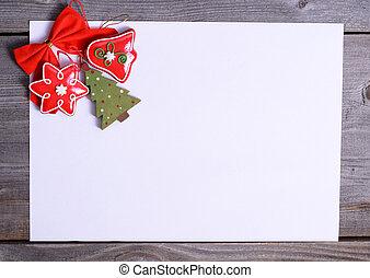 Christmas decoration over grunge background/vintage paper christmas card