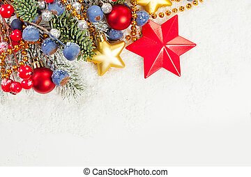 Christmas decoration over white snow background