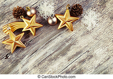 Christmas decoration over wooden background. Vintage style.