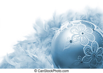 Christmas decoration - Christmas ball on feathers, isolated...
