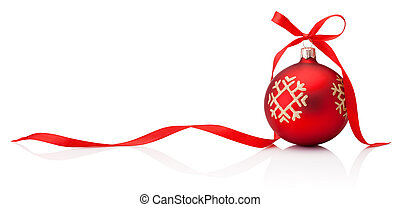 Christmas decoration red bauble with ribbon bow isolated on white background