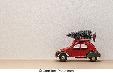 christmas decoration red toy car with fir-tree