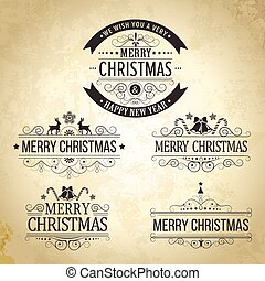 Christmas decoration Set of calligraphic vintage labels