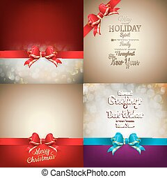 Christmas decoration Set - ribbon bow with bokeh
