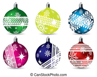 Christmas decoration set with snowflakes and tire track
