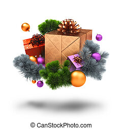 Christmas decoration, gifts and pine branches. 3d image....
