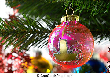 christmas decoration - christmas glass decoration in pink