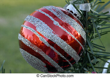 Christmas Decoration Textured Red and Silver Bauble