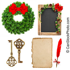 christmas decoration tools and evergreen wreath wit red ribbon