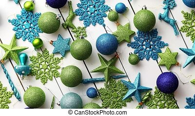 Christmas decoration top view. - Christmas blue and green...