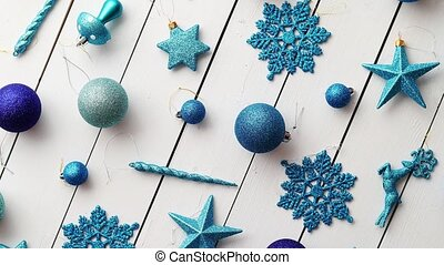 Christmas decoration top view. - Christmas blue collection,...